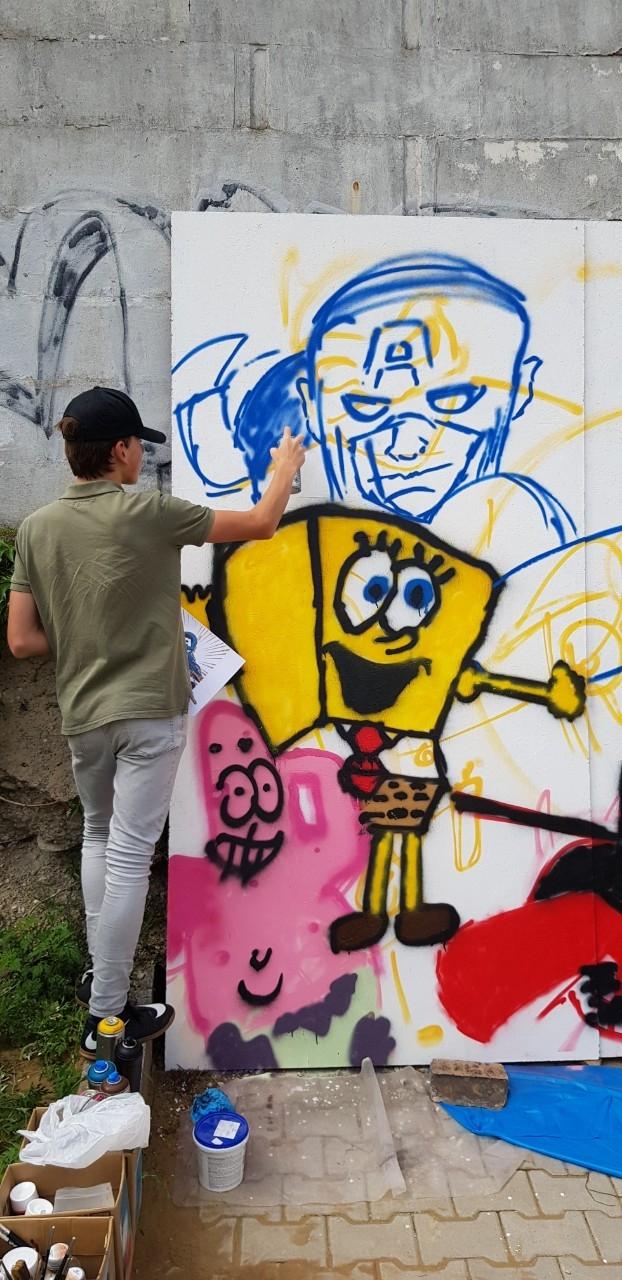 TRI DI ART gyerektábor-5. nap - Street Art - graffiti bemutató